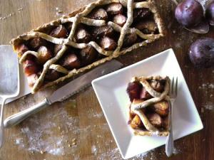 Plums tart baked on sweet rosemary shortbread